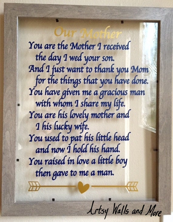 Gift Ideas For My Daughter In Law On Her Wedding Day : Mother-in-law gift You are the Mother I received the day I wed your ...