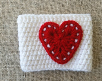 Christmas gift, White Cup cozy red Heart, Mug cozy,  Crochet mug warmer, home decor, tea cozy