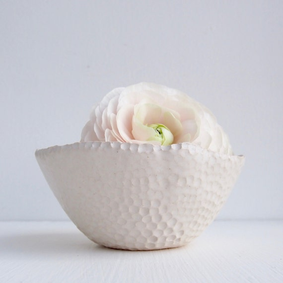 Handmade white ceramic circle bowl, white serving dish, white ceramic dish, white pottery bowl, ceramic wedding gift, ceramic bowl, pottery