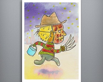 "HALLOWEEN KIDS: Freddy Krueger  - Trick or Treating boy in a Freddy Krueger costume 5"" x 7"" Watercolor Fine Art Print"