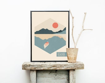 National Park Poster - Glacier - Rustic Wedding Gift - Glacier National Park - Hiking - Travel Posters - Lake House Decor - Nursery Decor