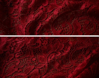 Maroon lace, bridal lace, maroon stretch lace, maroon cotton lace