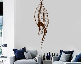 Wall Vinyl Decal Feathers Dreamcatcher Spiritual Guard Dream Snare Modern Ethnic Home Art Decor (#1153da)