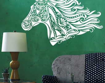 Wall Vinyl Decal Flower Ornamental Horse Head Stallion Modern Ethnic Ornaments Home Art Decor (#1160dz)