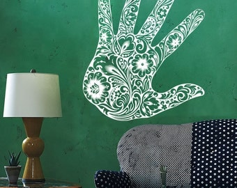 Wall Vinyl Decal Floral Ornamental Hand Palm with Flowers Modern Ethnic Abstract Home Art Decor (#1161dz)