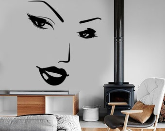 Wall Vinyl Decal Beauty Face Hot Sexy Lips Eyes Woman Girl Salon Decor 1349dz