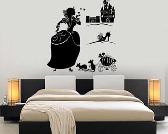 Wall Decal Girl Cinderella Castle Shoe Fairy Tale Vinyl Sticker Art 1409dz