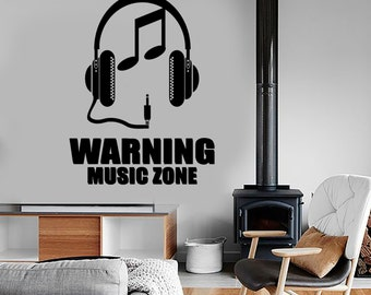 Wall Vinyl Music Zone Headphones Notes Guaranteed Quality Decal 1504dz