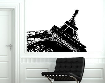 Wall Decal Paris Eiffel Tower Modern Abstract Vinyl Decal Sticker 1819dz