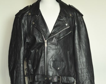 vintage 90's men's black leather biker jacket