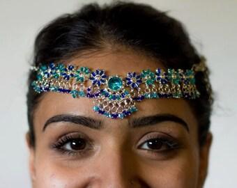 Vintage Blue Headpiece Jewelry | Hair Jewelry