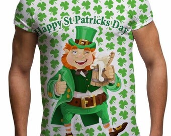 Men's St Patricks Day Tee Leprechaun Shamrock Clover Paddys Day Ireland Funny Irish T Shirt Gifts For Men