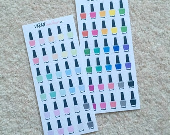 Set of 30 Nail Polish Icon Planner Stickers