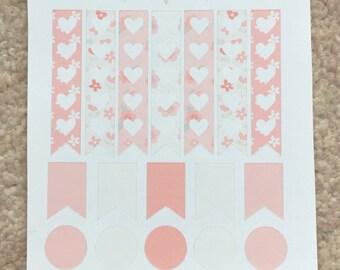 Set of 23 Vintage Floral Banner Planner Stickers