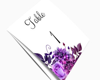 Wedding table numbers printable Purple wedding Tent table numbers Diy table numbers Folded table numbers Editable table numbers 1W38