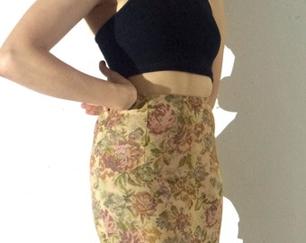 Floral, High Waisted Mini Skirt