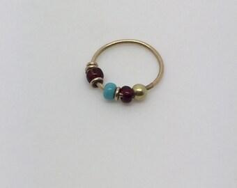 gold hoop nose ring,Beads nose ring,gold nose ring,Beads piercing,hoop nose ring,nose jewelry,beads jewelry,tragus ring,gypsy nose ring