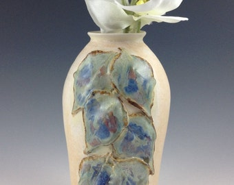 Handmade Ceramic Vase, Leaf Adorned Vase, Honey Cream Glaze, Waterproof Vase, Pottery and Ceramics,