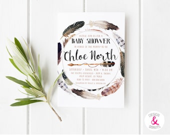 Baby Shower Invitation, Feather, Arrow, Printable [53]