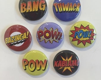 Comic Book Sayings Magnets - set of 7