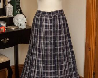 70s Folkloric Long Length Blue Plaid Dirndl Skirt, Size M / L