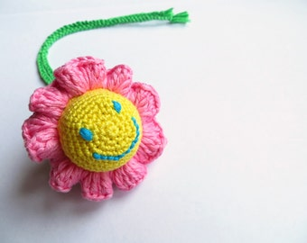 Flower baby rattle toy Teething toy Sensory new baby toy Crochet soft rattle Soft toy Gift for a new baby Baby shower gift