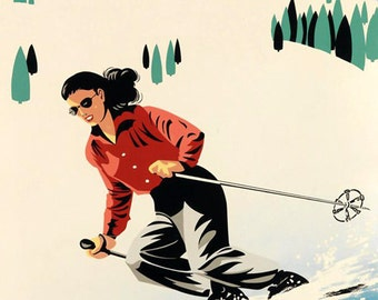 Ski Colorado Lady Skiing Mountains American Winter Sport Vintage Poster Repro FREE SHIPPING