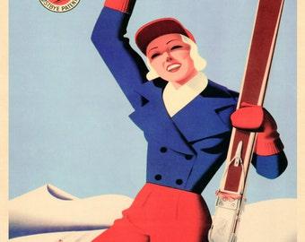 "Ski Pico Peak 16""x20"" Rutland Vermont American Skiing Winter Fashion Lady Sport Vintage Poster Repro Paper/Canvas FREE SHIPPING in USA"