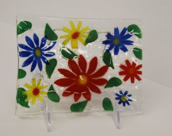 Multi colored daisy art glass tray