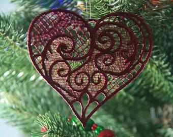 Victorian Heart Ornament, Christmas Heart Ornament, FSL Heart Ornament, Heart Ornament