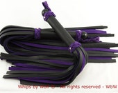 Bdsm Flogger set, leather BDSM toy, ±45 falls each, Blackened steel endknob, Purple and black, Heavy, Thudy, Real Leather