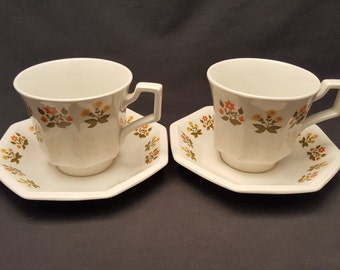 Vintage Set of 2 Johnson Bros Tea Cups and Saucers Made in England Ironstone Orange Yellow Flowers Floral