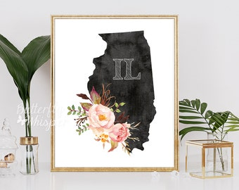 Illinois printable art, Illinois state print with flowers, Printable art, US wall decor, Unated states wall art,  Illinois silhouette print