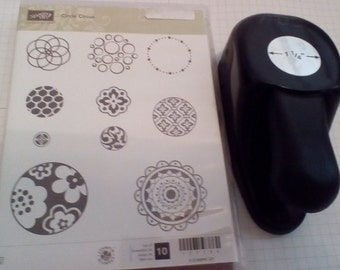"Stampin Up Circle Circus and 1 1/4"" Circle Punch Set"