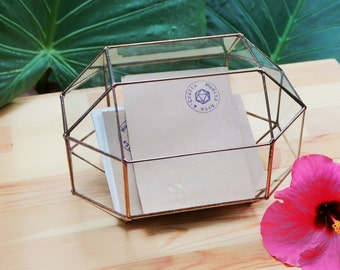 Medium Wedding Card Box, Card Holder, Geometric Glass Box, Envelope Holder, Rustic Wedding Decor, Jewelry Box, Mail Box, Geometric Terrarium