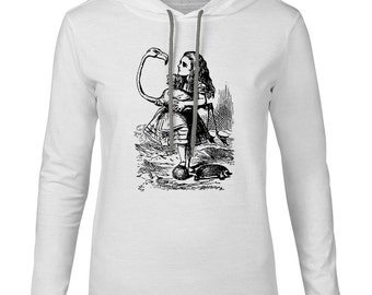 Mintage Alice in Wonderland - Alice Flamingo Croquet  Mens Fine Jersey Hooded T-Shirt
