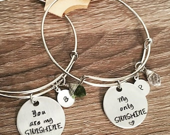 SET of 2 - You are my SUNSHINE, my only SUNSHINE hand stamped bangle bracelets / birthstone / initials / Mother & daughter matching jewelry