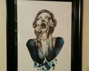 "Blue girl art print 14""x19"""