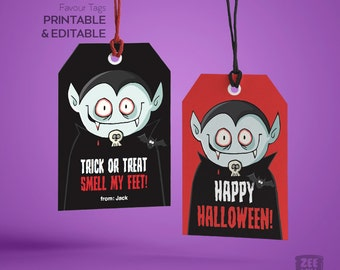 Halloween Favour Tags, Halloween Tags, Dracula, Monster, Halloween, Stickers, Gift Tags, Labels, Instant Download, Printable tags, ZWDH0064