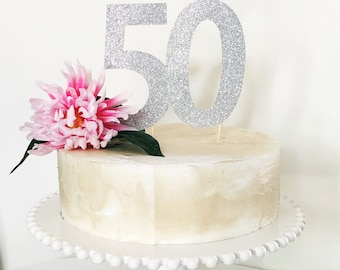 50th Birthday Cake Topper Silver Glitter Large Number 50