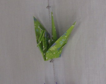 Snowflake Green Origami Hanging Cranes