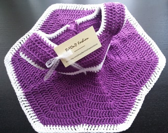 Purple baby dress with white edging 100% cotton Crochet dress 0-3 months Beyond Fashion