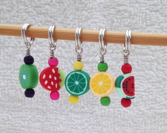 Five Fruits Stitch Markers - Set of 5