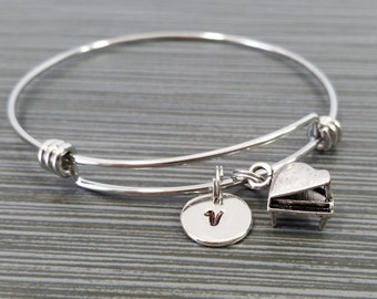 Piano Bangle Bracelet - Band Student Bracelet - Personalized Piano Bracelet - Musician Gift - Organ Bracelet - Musical Instrument Jewelry