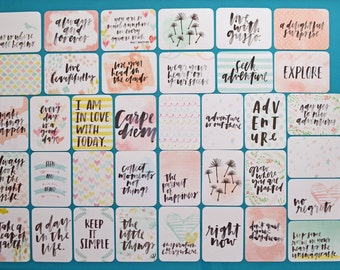 "INSPIRE Edition - 50 Cards - Becky Higgins Project Life Core Kit (PARTIAL) - 3x4"" Journaling Cards Designed by Vanessa Perry - Pocket Cards"