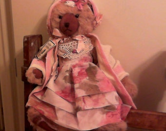 Teddy Bear in Vintage Baby Clothes