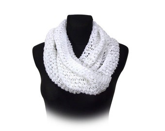 White lace mobius scarf cosy cowl
