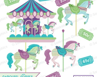 Carousel Horses Ponies Clipart - Carnival Ride - Instant Download File - Digital Graphics - Parties - Commercial & Personal - #O007