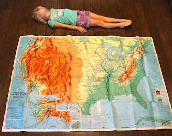 Large vintage U.S. map from the 1960s - United States, USA, America, topographical, Weber Costello, school map, big, over 5 feet long!