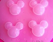 Faceted Jewel Mickey Head Cabochon Flexible Plastic Mold For Resin Crafts Polymer Clay